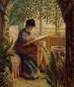 Painting by Claude Monet (1840-1926), 1875, 	Camille au métier (Camille to the weaving loom). She was 28.