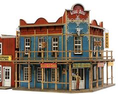 Banta Model Works O Silver Bull Saloon Westerns, Restaurant Kit, Old Western Towns, Western Signs, Old West Town, Planet Coaster, Model Training, Model Train Layouts, Outdoor Toys