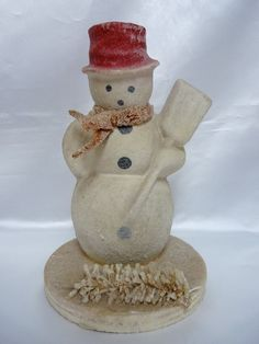 Vintage Paper Papier Mache' or Pulp Snow Man with Broom on Wooden Base