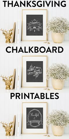 Spruce up your fall decor with these stunning Thanksgiving chalkboard printables! 8x10 in size and perfect for printing at home, score big this holiday...