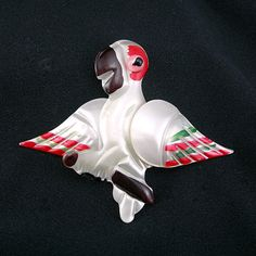 White Parrot Brooch with Pearlized Coating on by AtticDustAntiques, $34.00