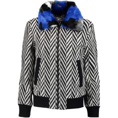 Self-Portrait - Faux Fur-trimmed Zigzag Jacquard Bomber Jacket (€210) ❤ liked on Polyvore featuring outerwear, jackets, black, zip bomber jacket, bomber jackets, blouson jacket, faux fur collar jacket and jacquard jacket