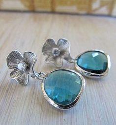 Aqua blue crystal earrings on silver floral