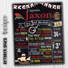 Pirate Chalkboard Birthday Poster  1st by OctoberSkiesDesigns