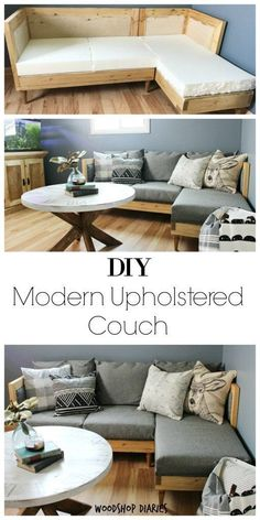 How to build your own DIY Couch--free building plans and upholstery tutorial to make your own modern upholstered couch. Perfect for small, modern spaces and easy to customize. Stained in Minwax Golden Oak and finished in grey upholstery fabric, this is a classic looking couch that is easy to build yourself! #buildyourowndeck #deckbuildingplans