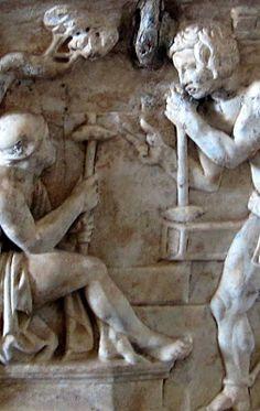 Dos obreros descansando,relieve romano,no tengo datos....