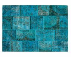 Hatice: Patchwork Overdyed Carpet Turkish Blue Turquoise Colours to Braided Wool Rug, Woven Rug, Turquoise Tile, Turquoise Hair, Stone Rug, Summer Vibe, Felt Ball Rug, Deco Addict, Ceramic Mosaic Tile