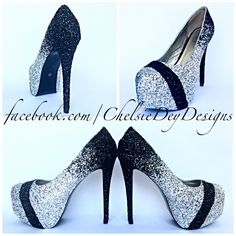 Glitter High Heels - Silver Black Ombre Pumps - Sparkly Wedding Heels - Stripe Platform Shoes - Glitter Prom Shoes - pinned by pin4etsy.com