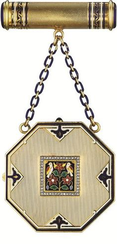 Art Deco - 1925 - Enamel and Diamond Vanity Case by Cartier