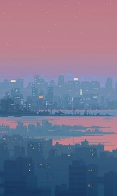 Russian artist best known as Waneella creates pixel art works. Here are some gif pictures of urbanscapes from her new series Pixel Cities! Animation Pixel, Arte 8 Bits, Beste Gif, Amoled Wallpapers, Animated Gifs, 8bit Art, The Beach, Vaporwave, Cyberpunk