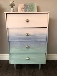 I decided to do something pretty and romantic with this little four-drawer pine dresser circa the The dresser was painted using Aspire mineral chalk Pine Dresser, Glass Knobs, Duck Egg Blue, Upcycled Furniture, Wooden Signs, Pretty Little, Chalk Paint, Something To Do, Drawers