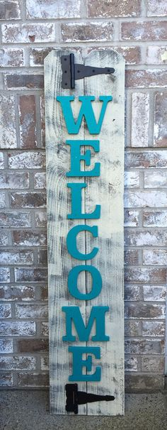 Size is approximately 11 x 52 inches - Brown/Gray Base - Tan/Ivory Top coat - New Cedar Wood - 2 Black Hinges - Individual teal painted wood letters  PLEASE READ before purchase!!!!  All sales final.  Each of my signs/decor are created from reclaimed and new wood (depending on sign). My signs are 100% hand painted and because of this no two will ever be exactly the same & size can vary up to 2 inches.  Please note: Wood will vary in size, color and will have imperfections -- lots of…