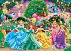 Disney Party - princess, blue, aurora, disney, pink, balloon, cinderella, rapunzel, yellow, arielle, purple, girl, fanart, belle, green, party, fantasy