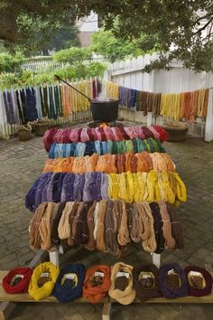 Dyed yarn drying in the sun