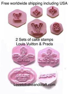 #louisvuittoncupcake#Lvcakestamp #louisvuittongumpaste #pradacake #pradacupcakes #louisvuittoncookies #louisvuittoncupcakes Cupcake Tutorial, Cake Topper Tutorial, Cake Toppers, Handbag Cakes, Purse Cakes, Gucci Cake, Cupcake Logo, Fondant Stamping, Cookie Stamp
