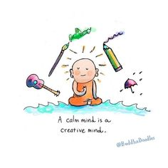 Buddha Doodles - A calm mind is a creative mind. Tiny Buddha, Little Buddha, Buddha Buddha, Buddah Doodles, Buddha Thoughts, Paz Mental, A Course In Miracles, Finding Peace, Creative