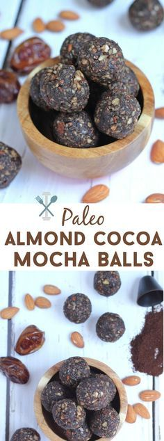 Diet Snacks These paleo and vegan almond cocoa mocha balls are a sweet, healthy treat with a nice hint of cocoa and coffee flavor. A great portable snack, on-the-go breakfast, or post-workout fuel! - These paleo Paleo Dessert, Vegan Energy Balls, Energy Bites, Whole Food Recipes, Snack Recipes, Paleo Recipes, Whole 30 Snacks, Healthy Protein Snacks, High Protein