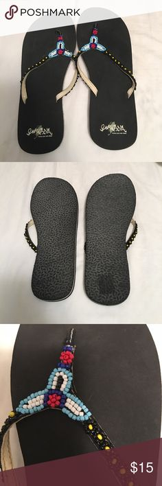Beaded flip flops Perfect condition. Cute beaded detail. Surkana Shoes Sandals