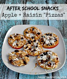 """Looking for after school snack ideas? Try these Apple & Raisins """"Pizzas"""" #SnacktoSchool #LoveYourRaisins"""