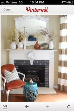 Fireplace mantle- white vintage vases and branches- only 1 needed though!