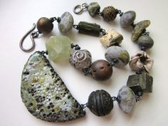 Critical Mass - primitive chunky assemblage pale lichen sage green ceramic art beads, prehnite, raku, stones, trade bead, & ox copper choker...