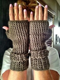 Crochet fingerless gloves with cuff and button / wrist warmer  on Etsy, $25.00