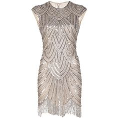 NAEEM KHAN embellished fringe dress found on Polyvore