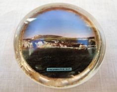 Vintage 1920's Souvenir Glass Paperweight   by rupertandtoby
