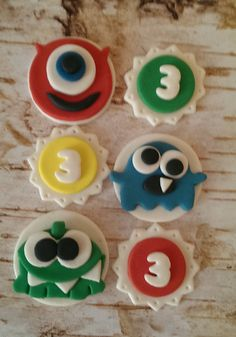 Monsters Fondant Cupcake Toppers set of 12 (one dozen)