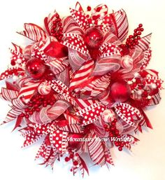 Christmas Wreath Deco Mesh Christmas Wreath by MountanViewWreaths