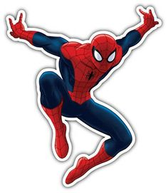 Spider-man Cartoon Jumping Car Bumper Sticker Decal - or Superman Party Decorations, Spiderman Stickers, Spiderman Birthday Cake, Happy Birthday Tag, Car Bumper Stickers, Drawing Projects, Bottle Cap Images, Aesthetic Stickers, Cute Drawings