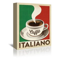 "East Urban Home Cafe Italiano Vintage Advertisement on Wrapped Canvas Size: 24"" H x 20"" W x 1.5"" D"