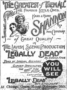 Ad for the play: Legally Dead  February 26, 1907