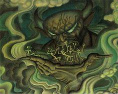 Kay Nielsen.  Preliminary study for Fantasia - Night on Bald Mountain. 1940