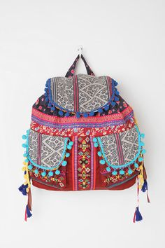 Might need to make Alex get me this for my birthday   Ecote Geo Pompom Backpack  #UrbanOutfitters