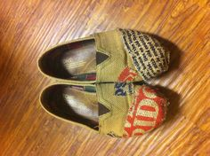 Fixed my old, worn burlap Toms with a burlap potato chip bag.