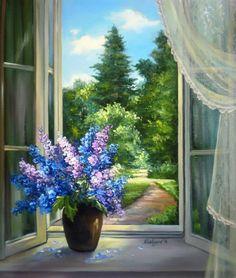 Landscape Art, Landscape Paintings, Pintura Country, Oil Painting Flowers, Window Art, Acrylic Art, Beautiful Paintings, Pretty Pictures, Flower Art