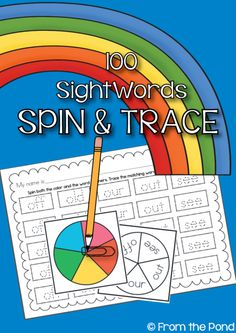 Sight Word Spin and Trace Worksheet Activities product from From-the-Pond on TeachersNotebook.com