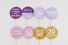 30th Birthday Party Toppers Printable  | Creative Sense Co  #30th #lilac #purple #lavender #birthday #decorations #party #creativesenseco