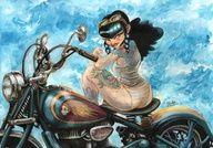 This is a drawing I did for Kustom Lane Gallery's Chops & Bobbers III exhibition Aug Bonnie's Ride Biker Tattoos, Harley Davidson Art, Cartoons Love, Rockabilly Fashion, Rockabilly Style, Art For Art Sake, Biker Girl, Pin Up Art, Bobber