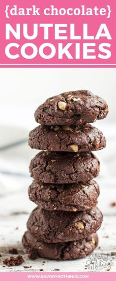 These double dark chocolate cookies are SO decadent! They're moist and soft and always turn out perfect. Simple to make with cocoa and hazelnuts, so you'll have the BEST Nutella flavors.