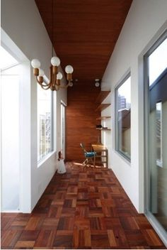 White wall, parquetry floor