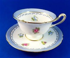 Pretty Blue Border Rose Pansy Forget-Me-Not Shelley Tea Cup and Saucer Set