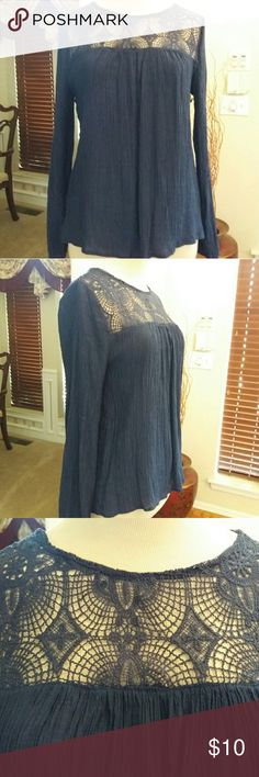 Cute Lace & Crinkled Summer Top *NWOT - Bought it online and it ended up not fitting. *Navy-blue color, keyhole button in back *Size L (Juniors) but fits a Medium Misses *60% Rayon/40% Polyester Sweet Wanderer Tops Blouses