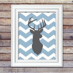 Deer 8x10 Print - Deer Nursery - Hunting Nursery - Antler Print - Chevron Deer Print