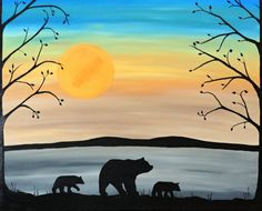 Original Abstract Black Bear and cubs silhouette painting, -MAMA AND CUBS- by RachelOlynuk, home decor, wildlife painting,