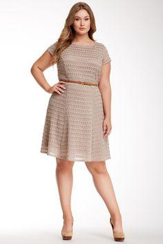 Sharagano Cap Sleeve Picket Fence Dress (Plus Size) on HauteLook