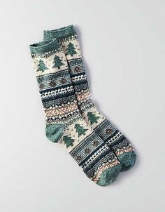 AEO Tree Crew Socks, Green | American Eagle Outfitters