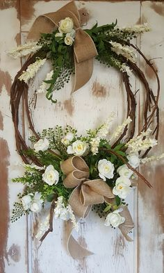 Wreath Wedding Bouquest, White wedding bouquets, Cream wedding bouquet, Country Wedding Bouquet, Outdoor Wedding, Bride bouquet by FarmHouseFloraLs on Etsy