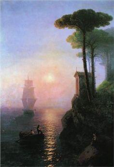 Ivan Aivazovsky (Russian-Armenian 1817-1900) | Misty morning in Italy